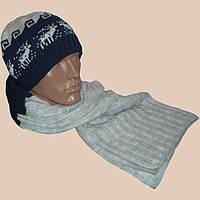 Мужская вязаная шапка (утепленнй вариант),  шарф-петля  c норвежскими орнаментами