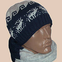 Мужская вязаная шапка (утепленнй вариант),  шарф-снуд  c норвежскими орнаментами
