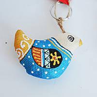 Брелок Голубой Воробушек. Украинский сувенир.