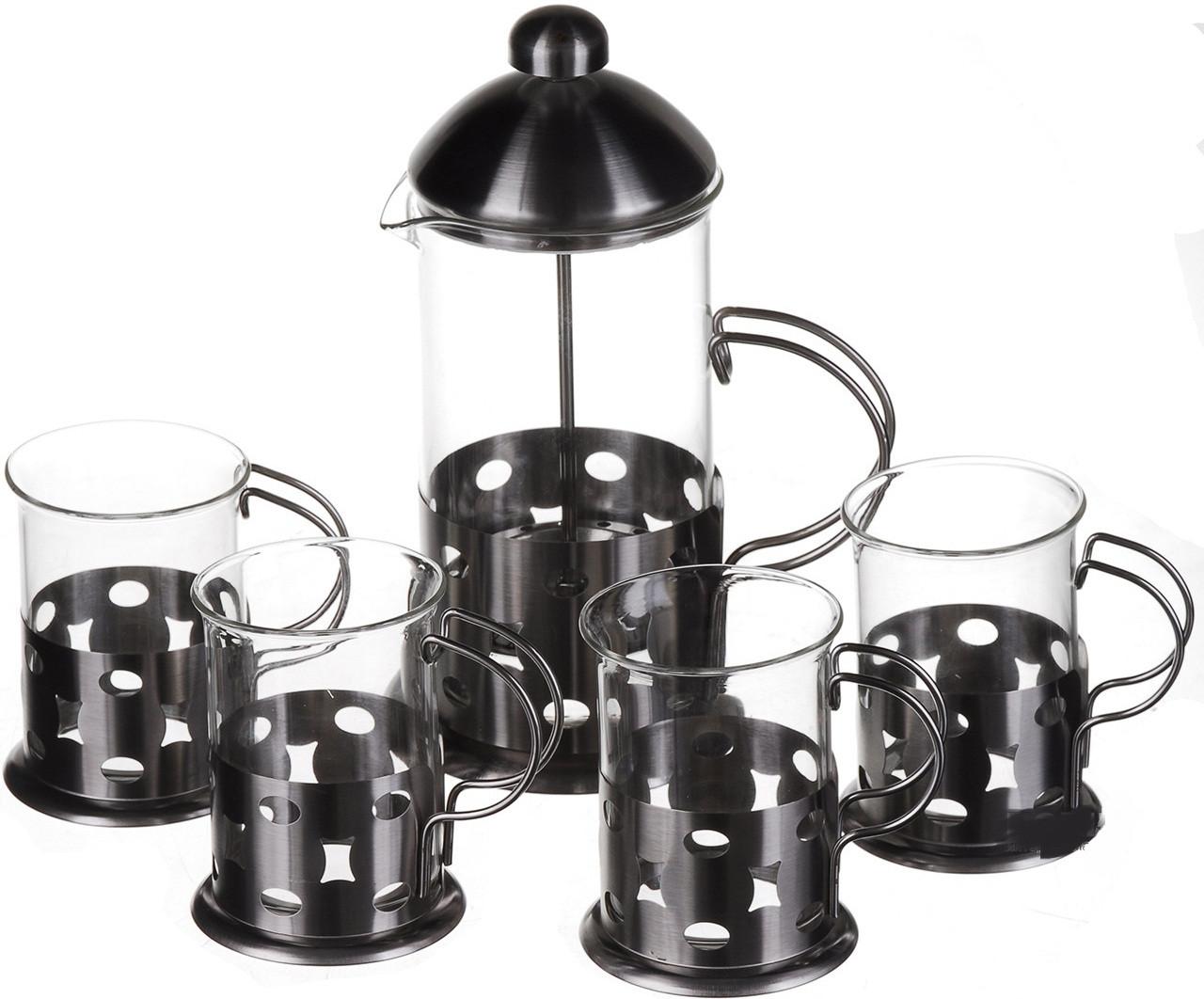 Пресс заварник ( Подарочный набор ) France 600ml (1030) + 4 чашки