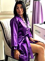 Атласный женский халат под пояс с кружевом, фото 1