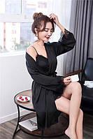 Шелковый халат и пеньюар Черный XL (48), фото 1
