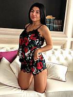 Велюровая пижама женская с розами, фото 1