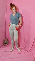 Штаны  брюки спортивные с лампасами с карманами женские Штани з двонитки  з лампасами з кишенями кольори