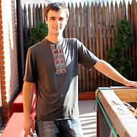Мужская футболка-вишиванка графит   Чоловіча футболка-вишиванка графіт