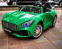 Двухместный детский электромобиль X5518 Mersedec, 4 мотора, кожа, зелёный