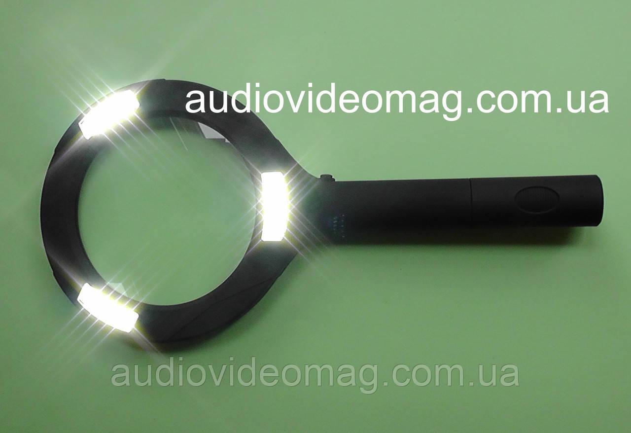 Лупа ручная, Ø 85 мм, 3-х кратная, с подсветкой