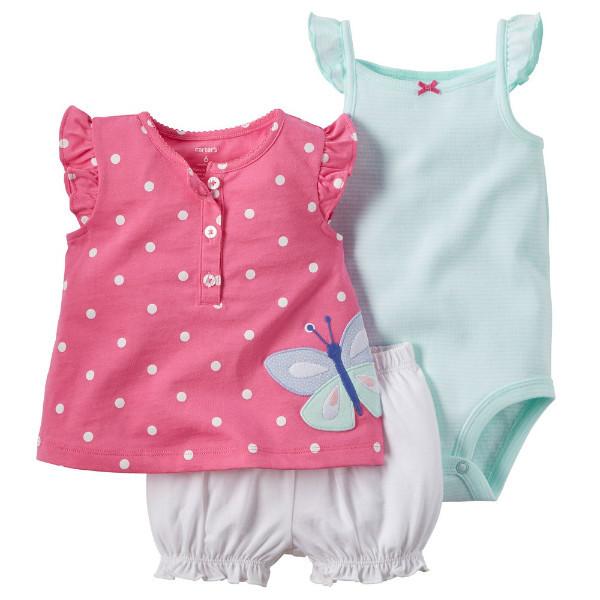 Набор боди, туника и шорты для девочки Carters бабочка
