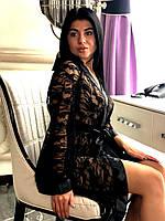 Прозрачный кружевной халат, фото 1