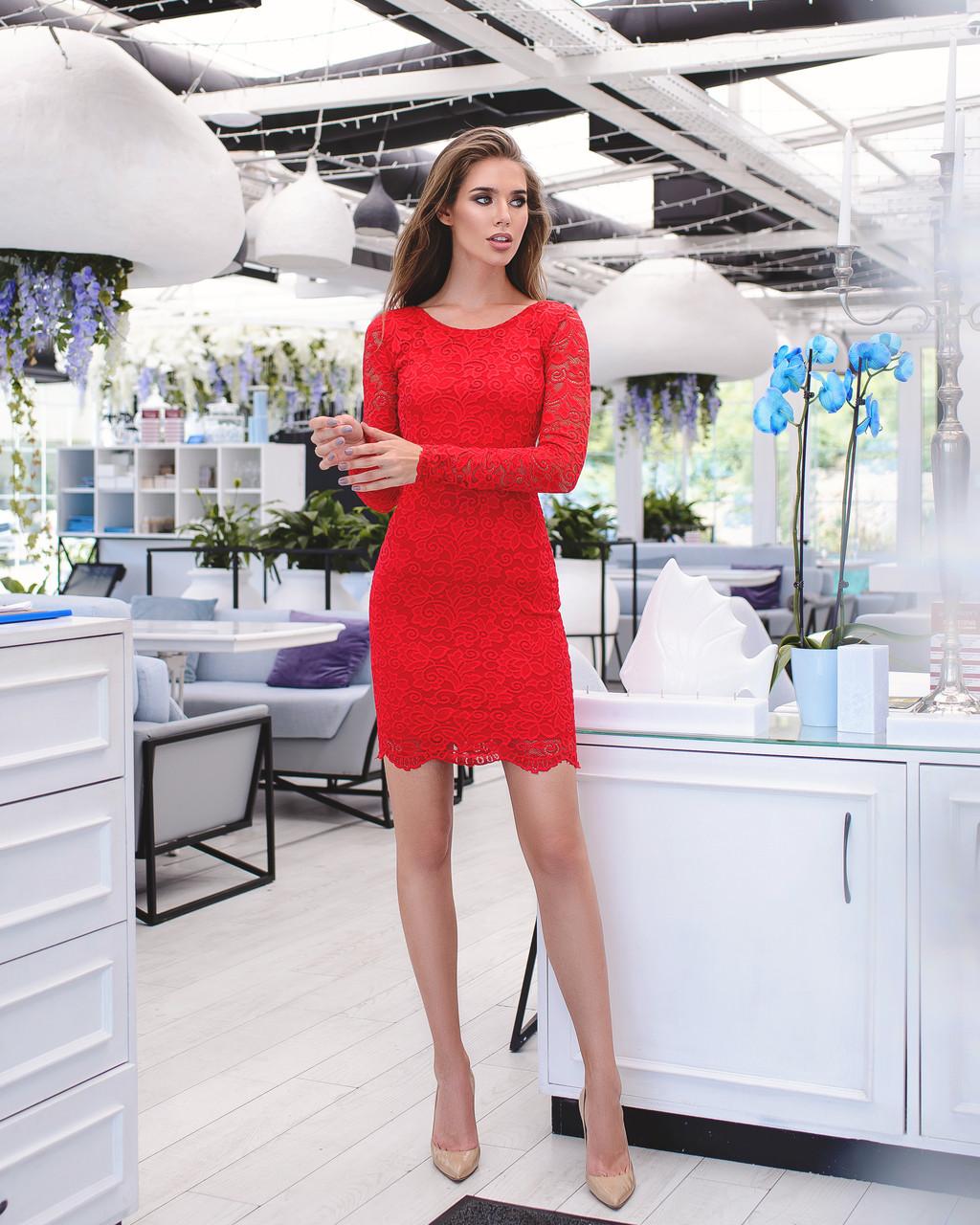 67650cf63e6 Красное Кружевное Платье с Длинными Рукавами — в Категории