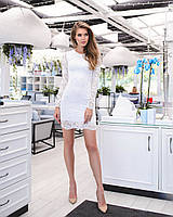 Нарядное кружевное платье  с длинными рукавами, 6 цветов, с 40 по 46рр, фото 1