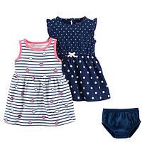 Набір 2 сукні з трусиками для дівчинки Carters сердечка горошок