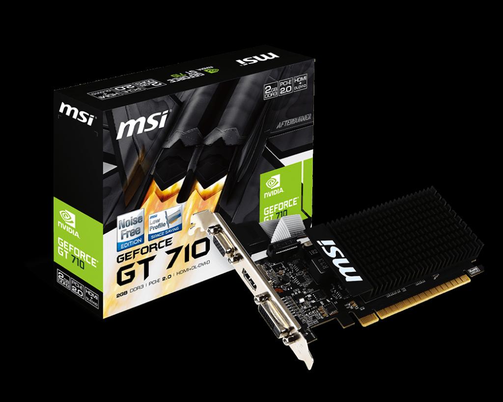 Видеокарта Gigabyte PCI-Ex GeForce GT 710 2048MB DDR3 (64bit) (954/1800) (HDMI, DVI, VGA)