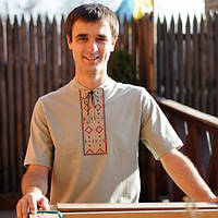 Мужская футболка-вишиванка серая | Чоловіча футболка-вишиванка сіра