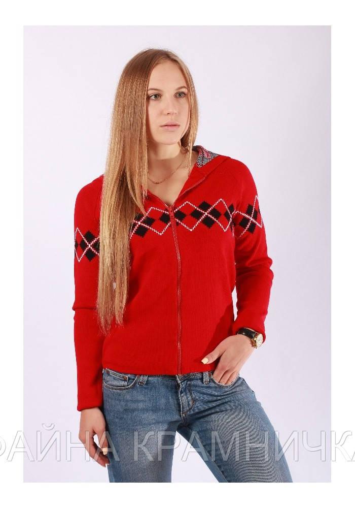 SO82-383 Джемпер дівч. підлітк. в'язаний червоний р.40-44