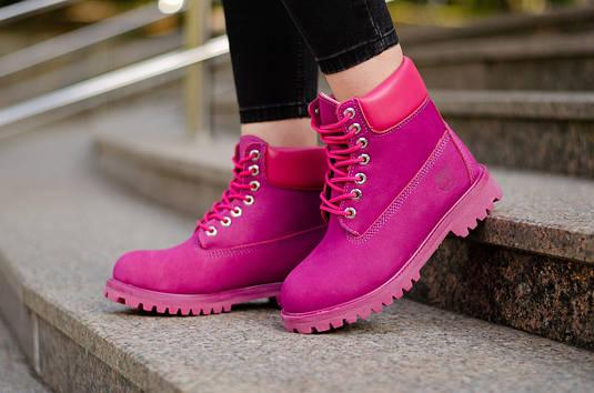 0a7797f1546c Женские зимние ботинки Timberland Pink White с мехом (Реплика ...