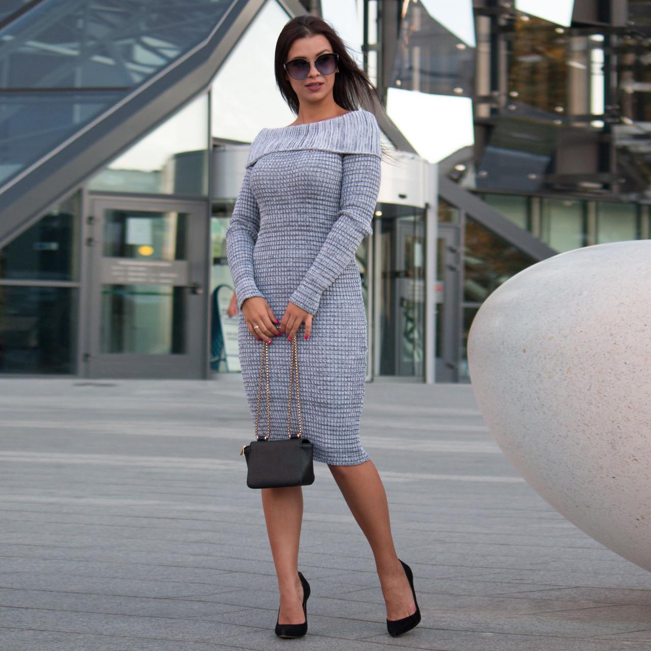 Трикотажное серое стильное женские платье Ксюша