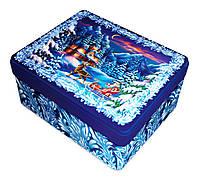 Новогодняя упаковка из жести Пейзаж, 18,1х13,5х6,5см
