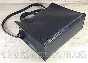 73-2 Натуральная кожа Женская сумка синяя формат А4 Женская сумка кожаная синяя натуральная на подкладке, фото 3