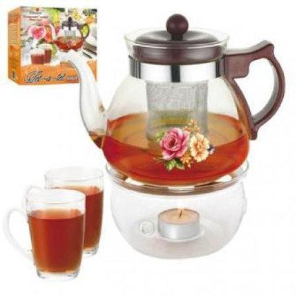 Haбop для чaя ( Чайник 1,0 л + 2 чашки + подставка) MS-0488