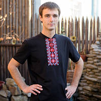 Мужская футболка-вишиванка черная  3040a36e68cb6