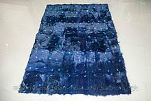 Купити хутряний килим синього кольору, яскраві соковиті натуральні килими з натуральної вовни