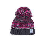 Зимняя вязанная шапка для девочки 7-16 лет ТМ SNO (Канада) F18 TU 318AF серо-розовая, фото 1
