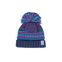 Зимняя вязанная шапка для девочки 7-16 лет ТМ SNO (Канада) F18 TU 318AF синяя, фото 1