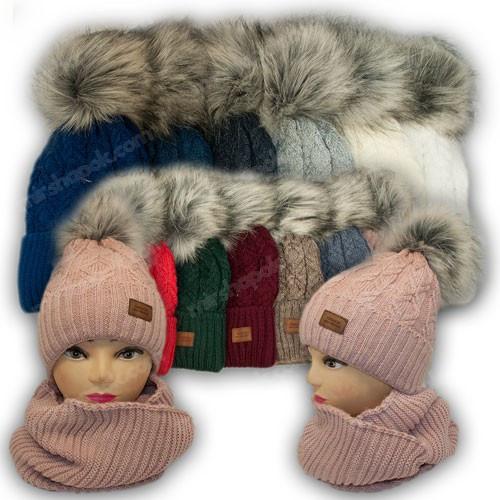 ОПТ Комплект - шапка и хомут с ниткой люрекс для девочки, р. 52-54 (5шт/набор)