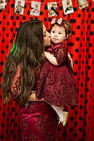 """Шикарные кружевные платья мама дочка Familylook  """"Parisa"""" в марсаловом цвете"""
