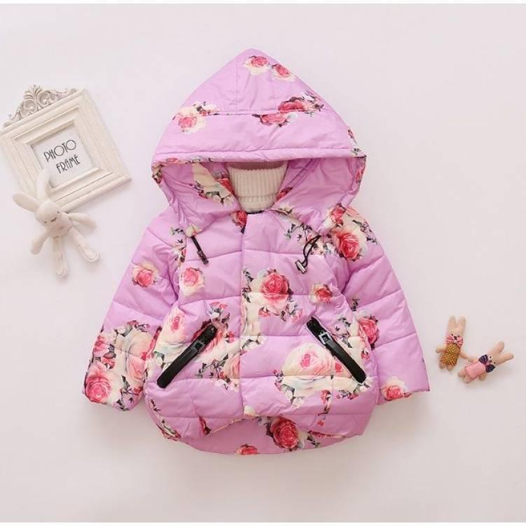 Куртка детская демисезонная  на девочку фиолетовая с цветочками  2-4 года
