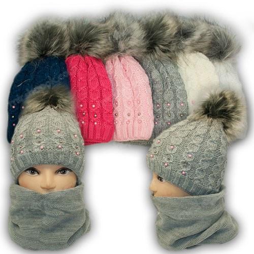 ОПТ Комплект - шапка и шарф (хомут) для девочки с бусинками, р. 50-52 (5шт/набор)