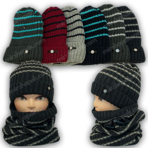 ОПТ Комплект - шапка и шарф (хомут) для мальчика, р. 52-54 (5шт/набор)