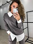 Женский стильный костюм: свитшот с имитацией рубашки и брюки (3 цвета), фото 6