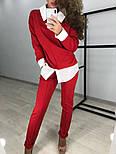 Женский стильный костюм: свитшот с имитацией рубашки и брюки (3 цвета), фото 5