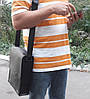 510-XL Натуральная кожа Планшет сумка мужская формат А4 черная кожаная сумка мужская планшет на плечо, фото 5