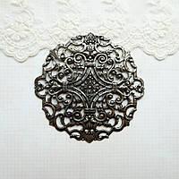 Латунный штамп, филигрань посеребренная черненная, 83 мм, фото 1