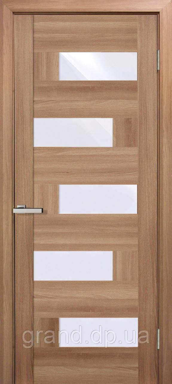 """Дверь межкомнатная """"Домино ПВХ"""" с матовым стеклом, цвет дуб золотой"""