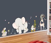 Большая интерьерная наклейка Слоник, олень и зайчик в детскую комнату