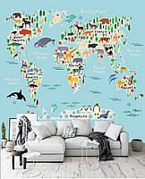 """3D фотообои """"Карта с животными"""""""
