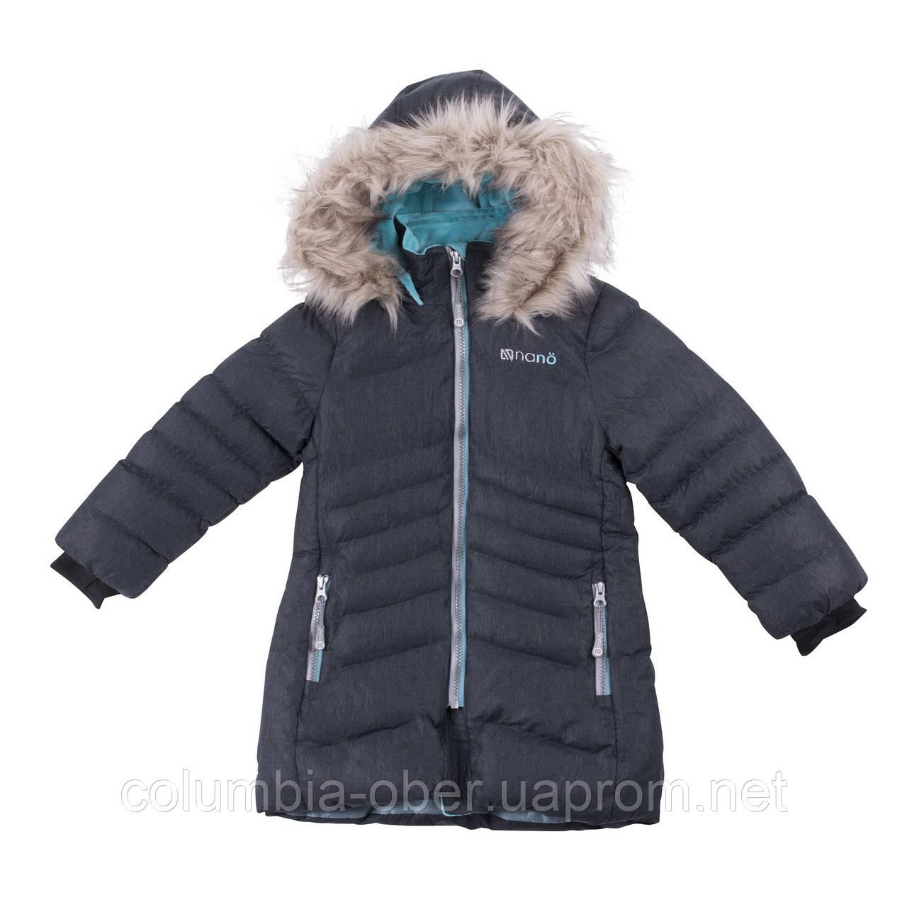 Зимнее пальто для девочки NANO F18 M 1252 Dk Gray Mix. Размеры 4-14.