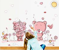 Милая большая интерьерная наклейка розовые мишки в детскую комнату