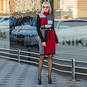 Вязаное зимнее платье Кубик бордо и графит