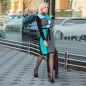 Вязаное женские платье Кубик графит и мята