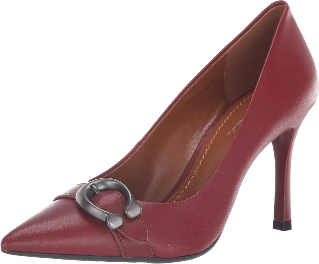 b0ecaaf6851 denmark coach waverly 85mm pump with signature buckle merlot leather 3add5  d7109