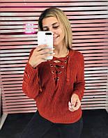 Вязаная женская кофта со шнуровкой 65KF394, фото 1