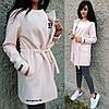 Легкое кашемировое женское пальто с кулиской 9PA114