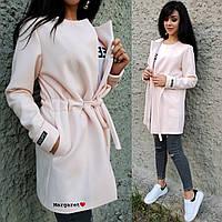 Легкое кашемировое женское пальто с кулиской 9PA114, фото 1