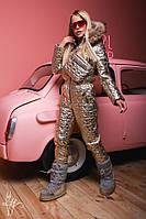 Металлизированный женский зимний комбез с мехом 60ZK28, фото 1