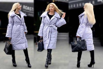 """Женское тёплое пальто на силиконе до больших размеров """"Одеяло Рукава завязки"""" в расцветках"""